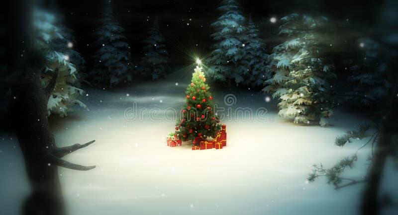 Árbol de navidad en bosque stock de ilustración