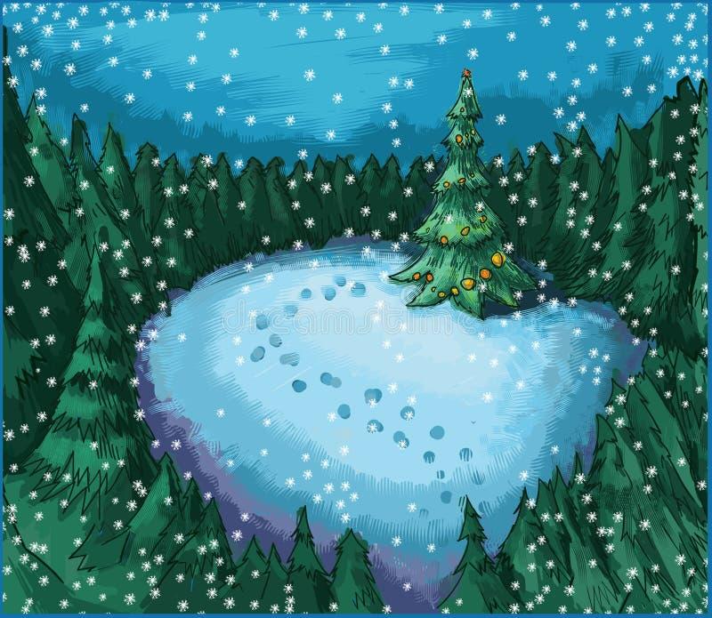 Árbol de navidad en bosque de la noche stock de ilustración