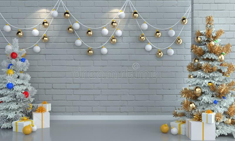 Árbol de navidad en el fondo blanco de la pared del ladrillo foto de archivo libre de regalías