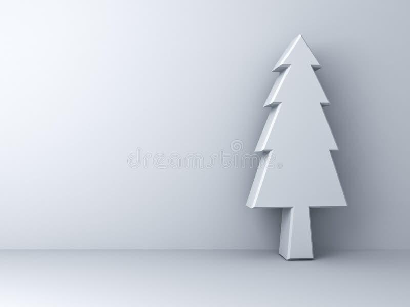 Árbol de navidad en el fondo blanco para la decoración de la Navidad stock de ilustración