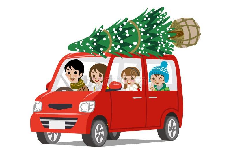 Árbol de navidad en el tejado - familia del cargamento del coche de la historieta stock de ilustración