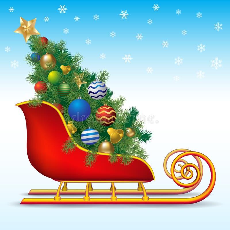 Árbol de navidad en el trineo libre illustration