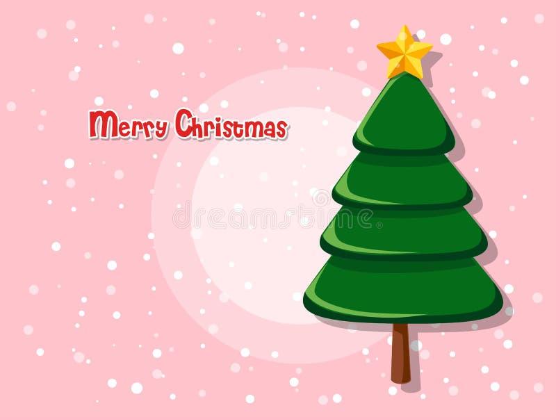 Árbol de navidad en fondo del color Feliz Año Nuevo y decorativ ilustración del vector