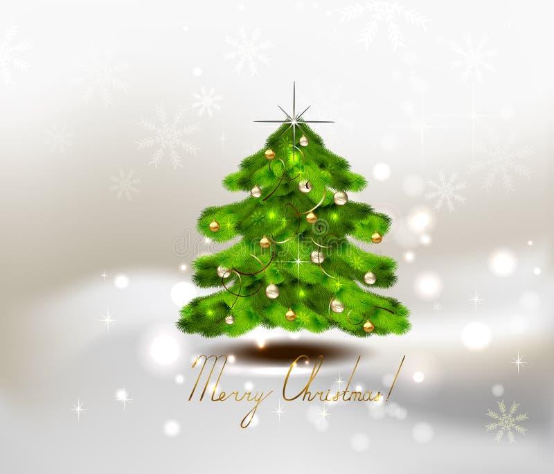 Árbol de navidad en fondo del invierno, bolas de los chrismas, estrellas y copos de nieve con el texto ilustración del vector