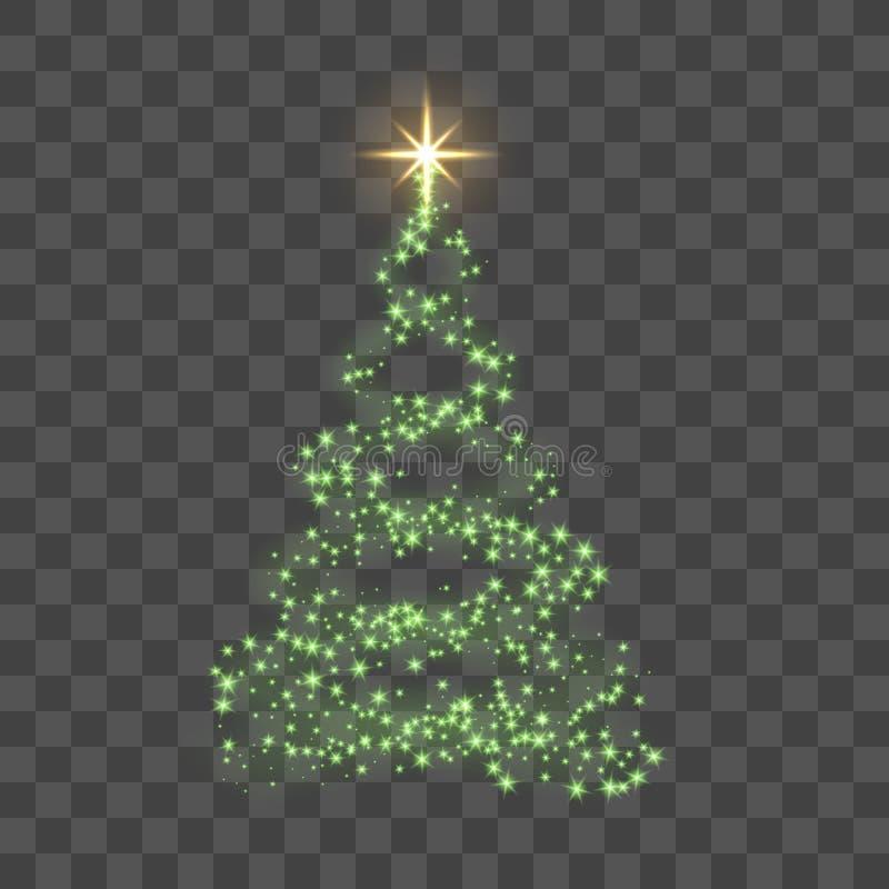 Árbol de navidad en fondo transparente Árbol de navidad verde como símbolo de la Feliz Año Nuevo, día de fiesta de la Feliz Navid ilustración del vector