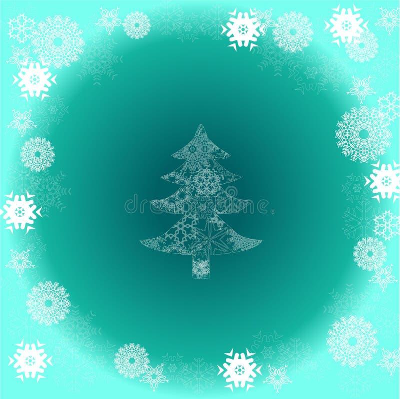 Árbol De Navidad En Fondo Verde Con El Copo De Nieve Foto de archivo