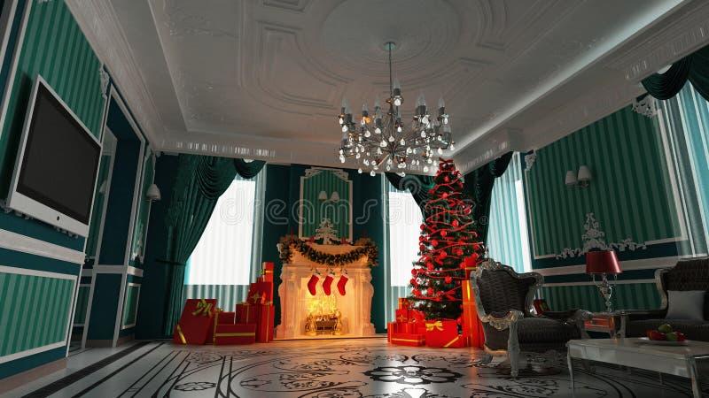 Árbol de navidad en hogar stock de ilustración