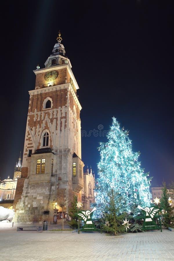 Árbol de navidad en Kraków vieja fotografía de archivo libre de regalías
