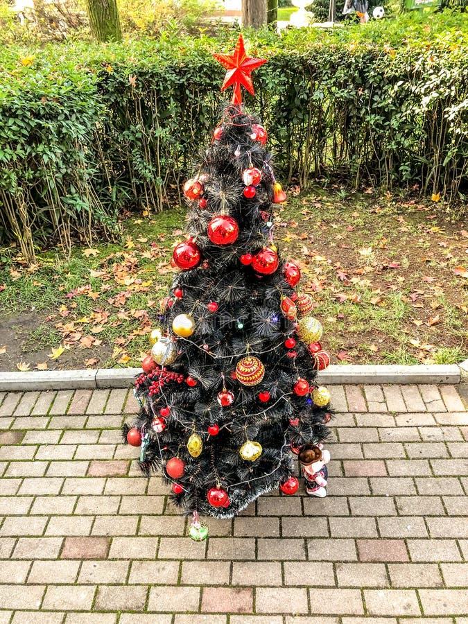 Árbol de navidad en la calle adornado con las gotas imágenes de archivo libres de regalías
