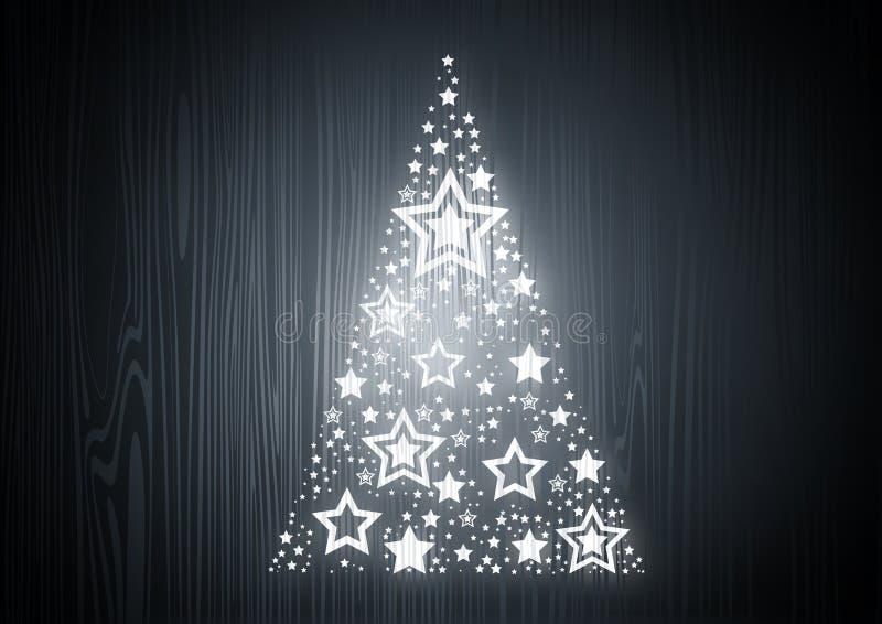 Árbol de navidad en la madera de roble stock de ilustración