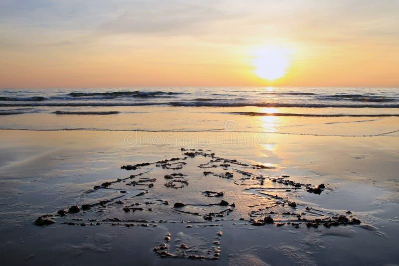 Árbol de navidad en la playa de la arena en puesta del sol imagen de archivo