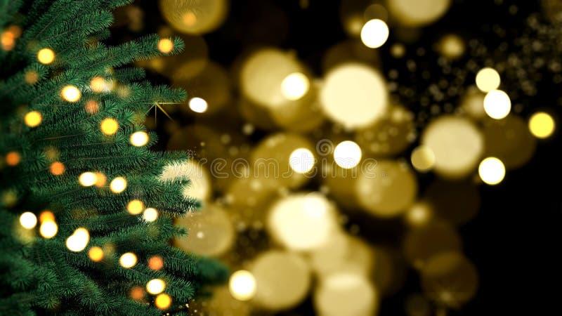 Árbol de Navidad en las luces de bokeo fotos de archivo