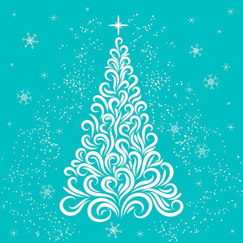Árbol de navidad en los colores blancos y azules Invitaci?n del A?o Nuevo Enhorabuena celebraci?n Invierno Copos de nieve Estrell ilustración del vector