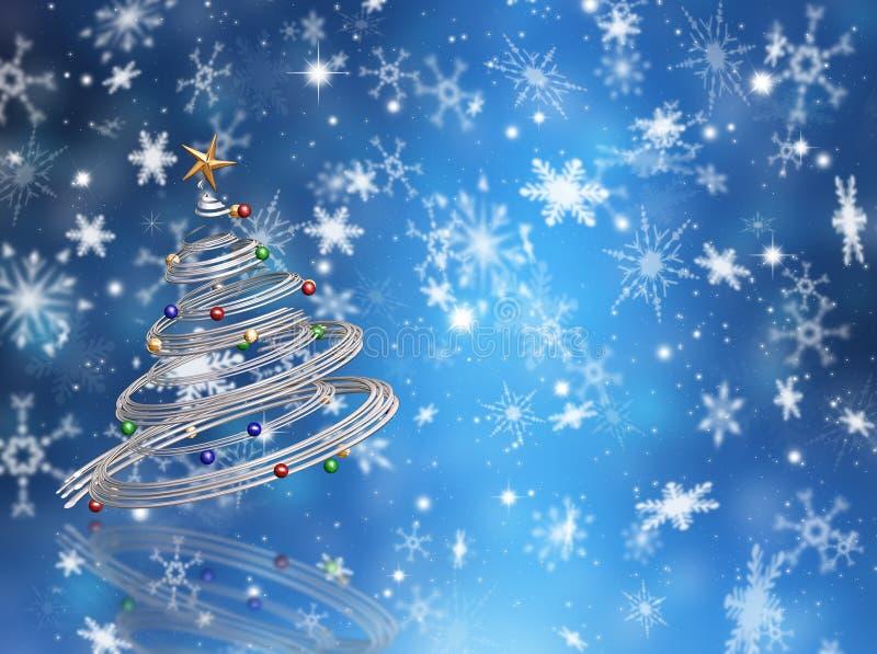 Árbol de navidad en los copos de nieve libre illustration