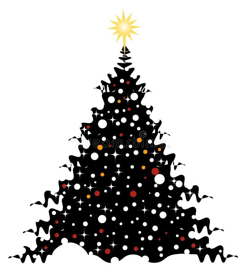 Árbol de navidad en nieve ilustración del vector
