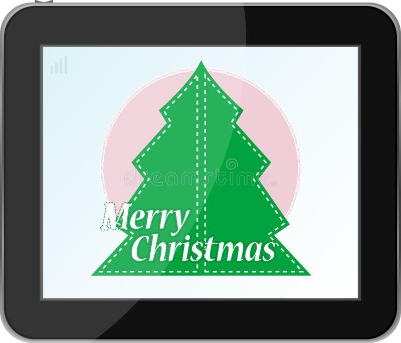Árbol de navidad en PC del vector stock de ilustración