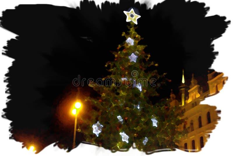 Árbol de navidad en Praga fotografía de archivo