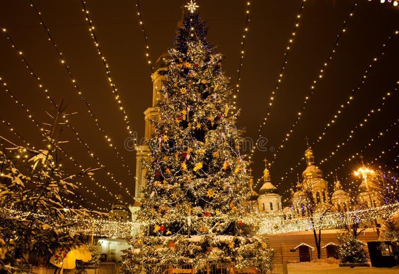 Árbol de navidad en Sophia Square foto de archivo libre de regalías