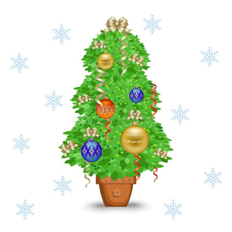 Árbol de navidad en un crisol ilustración del vector