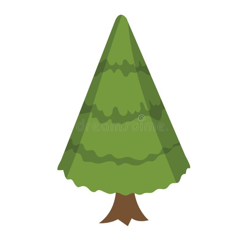 Árbol de navidad en un estilo plano Árbol de abeto aislado en el fondo blanco Engrana el icono stock de ilustración