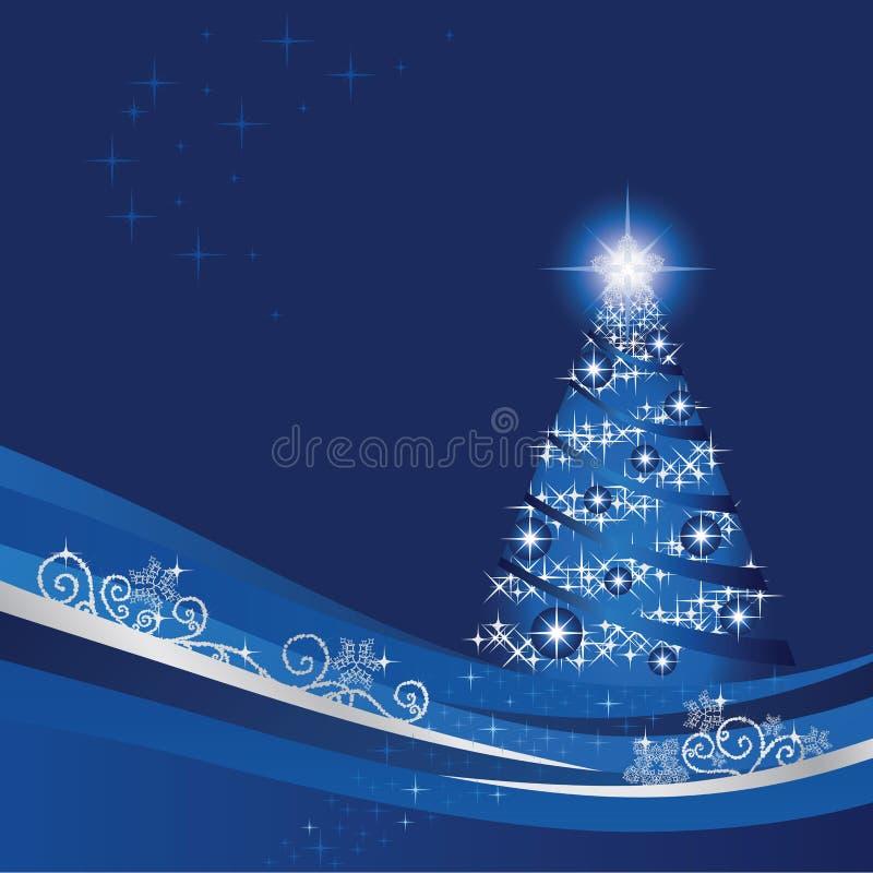 Árbol de navidad en un invernadero azul stock de ilustración