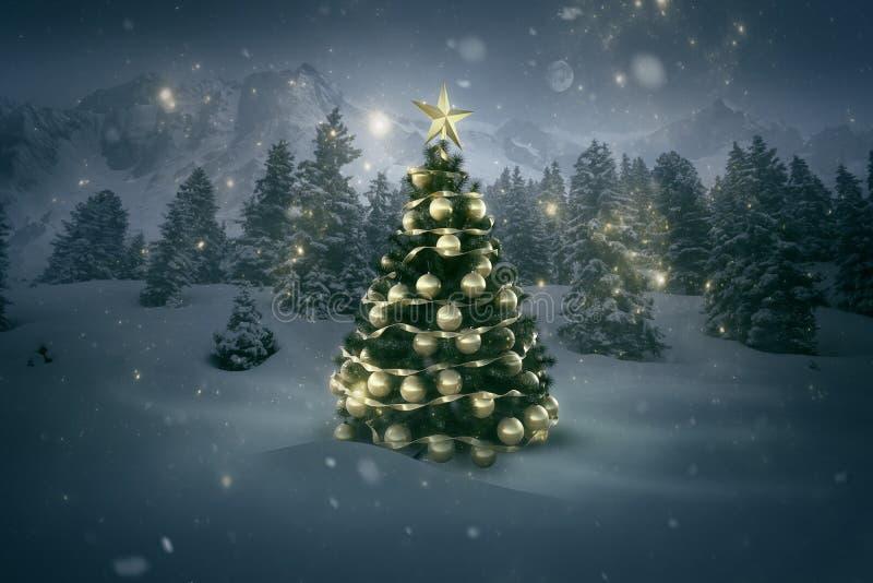 Árbol de Navidad en un paisaje invernal foto de archivo