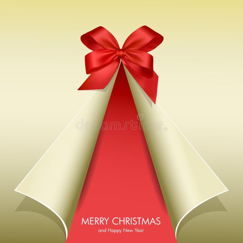 Árbol de navidad encrespado con la cinta stock de ilustración