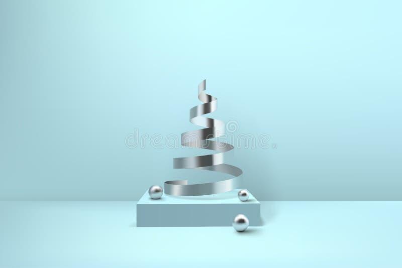 Árbol de navidad espiral brillante abstracto Ribb metálico de la bobina de plata ilustración del vector