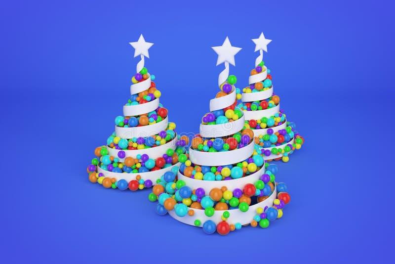 Árbol de navidad espiral festivo del extracto hecho de la cinta blanca con las bolas de Navidad del arco iris 3D rinden el ejempl ilustración del vector