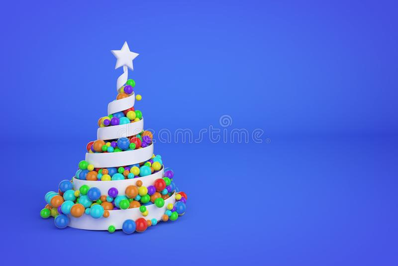 Árbol de navidad espiral festivo del extracto hecho de la cinta blanca con las bolas de Navidad del arco iris 3D rinden el ejempl libre illustration
