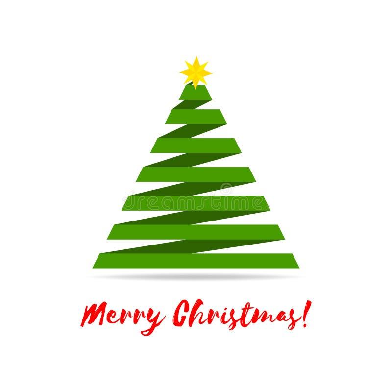 Árbol de navidad estilizado de la cinta con la estrella amarilla y saludos Ilustración del vector ilustración del vector