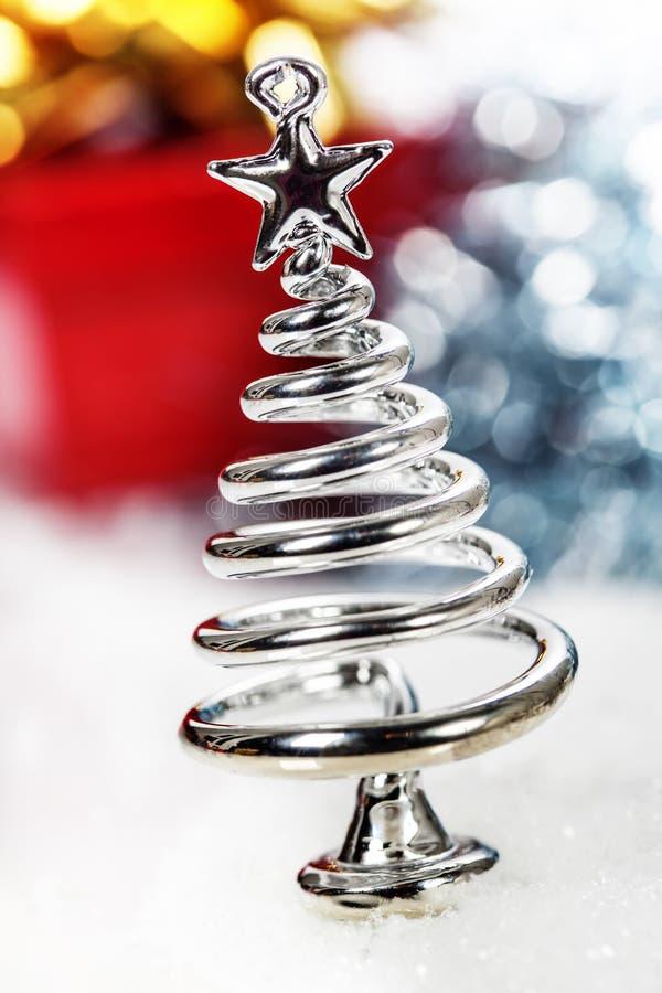 Árbol de navidad estilizado de la plata foto de archivo libre de regalías