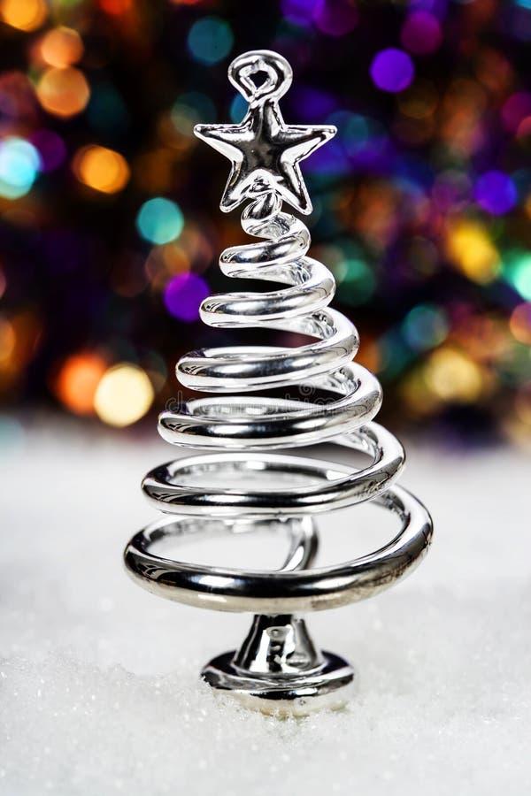 Árbol de navidad estilizado de la plata fotografía de archivo libre de regalías