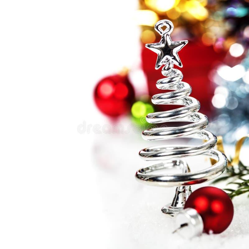 Árbol de navidad estilizado de la plata fotos de archivo