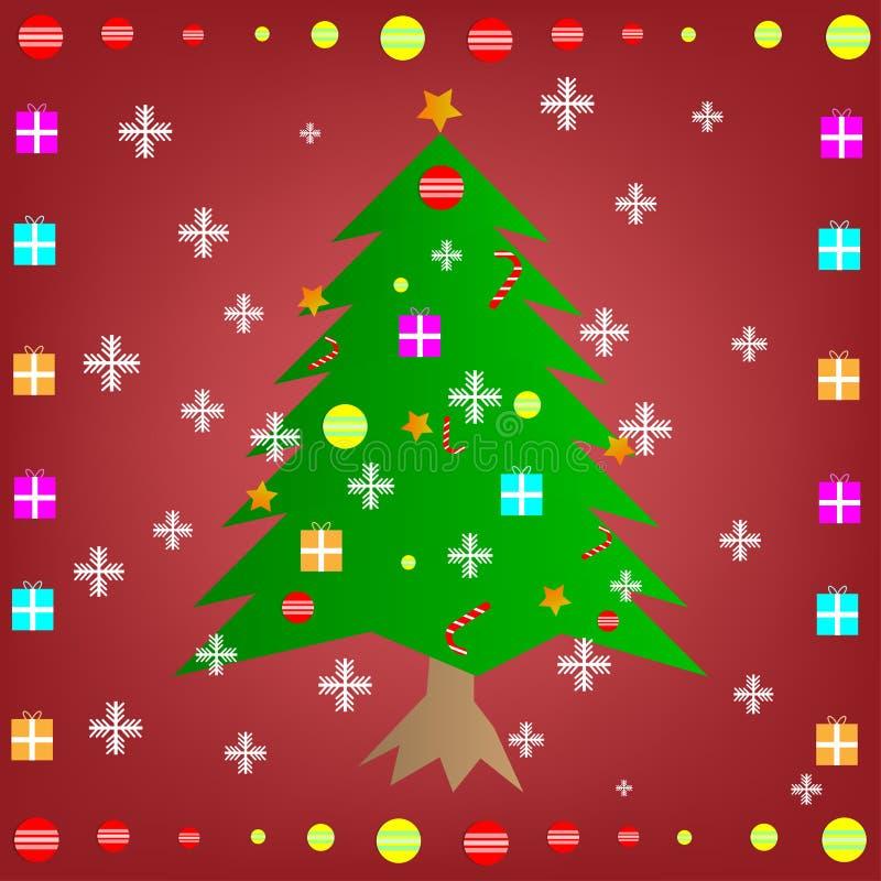 Árbol de navidad estilizado del diseño con las estrellas y los copos de nieve foto de archivo