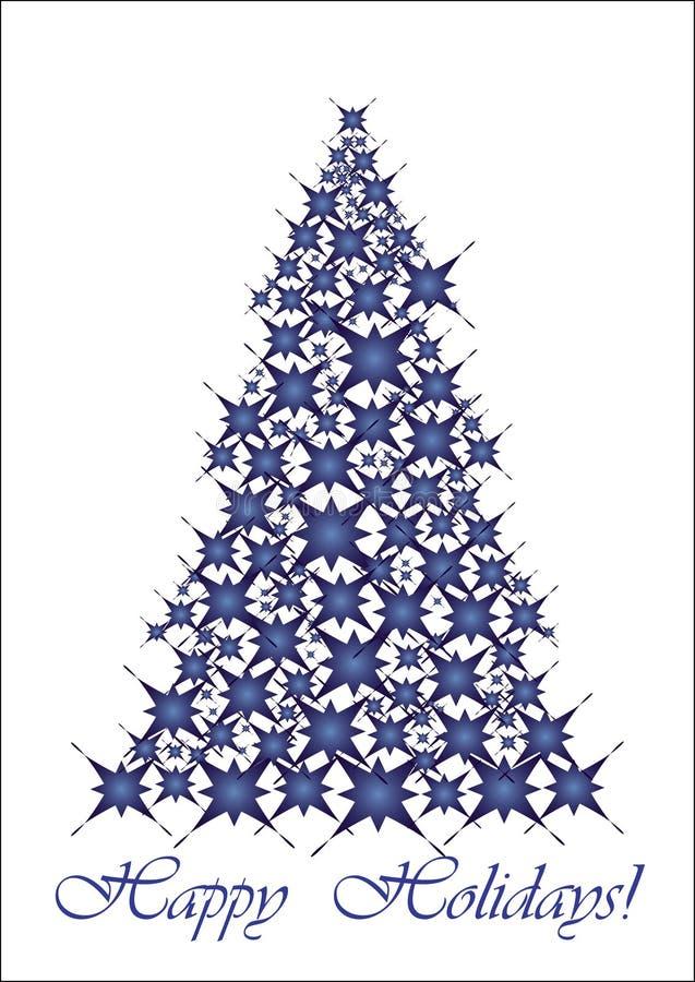 Árbol de navidad - estrellas azules ilustración del vector