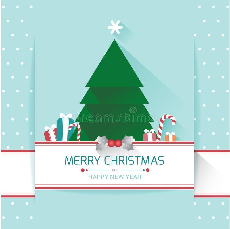 Árbol de navidad, Feliz Navidad y Feliz Año Nuevo libre illustration