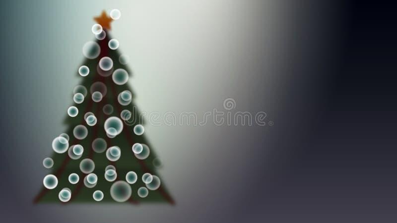 Árbol de navidad festivo hermoso verde con un efecto de la falta de definición con las bolas de los arenques y del efecto del bok ilustración del vector