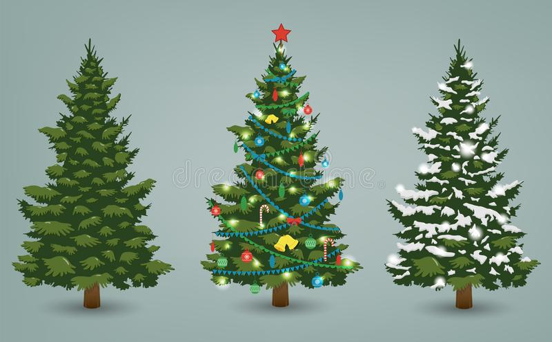 Árbol de navidad fijado para la tarjeta de felicitación, la invitación, la bandera y el diseño web Vector stock de ilustración