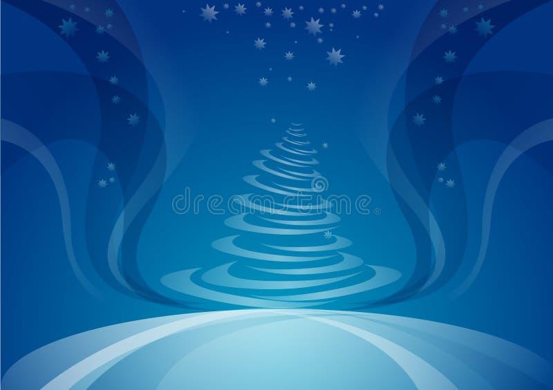 Árbol de navidad, fondo de la noche stock de ilustración