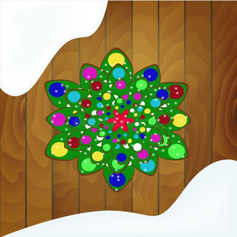 Árbol de navidad de galletas con el esmalte verde en un fondo de madera stock de ilustración