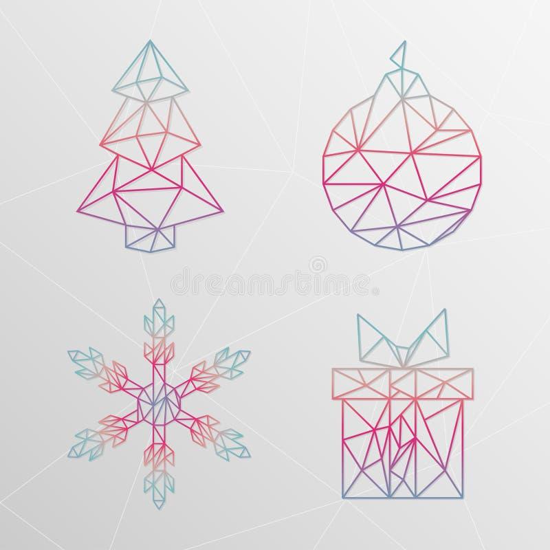 Árbol de navidad geométrico abstracto, copo de nieve, caja de regalo, christma stock de ilustración