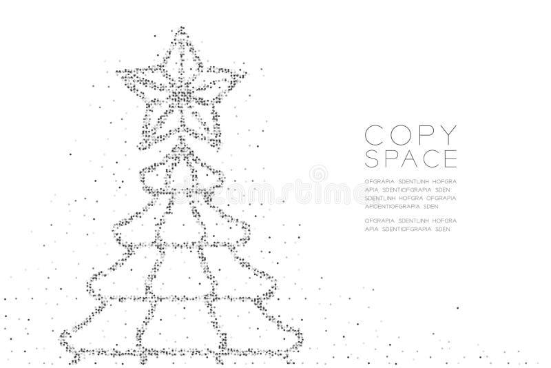Árbol de navidad geométrico abstracto del modelo del pixel del punto del círculo con la forma de la estrella, color del negro del stock de ilustración