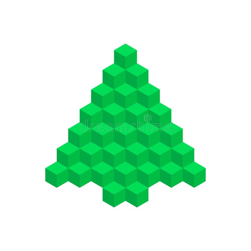 Árbol de navidad geométrico Elemento del diseño del vector de la Feliz Navidad y de la Feliz Año Nuevo ilustración del vector