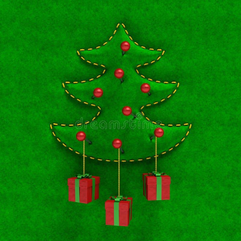 Árbol de navidad grabado en relieve del terciopelo con las cajas de regalo stock de ilustración