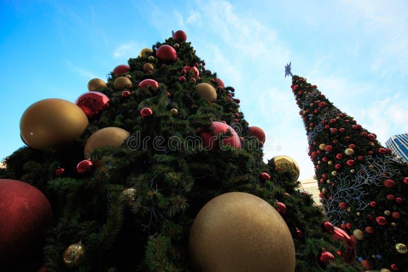 Árbol de navidad grande y bolas grandes en Bangkok Tailandia En estilo de la opinión del ojo del ` s del gusano imagen de archivo libre de regalías
