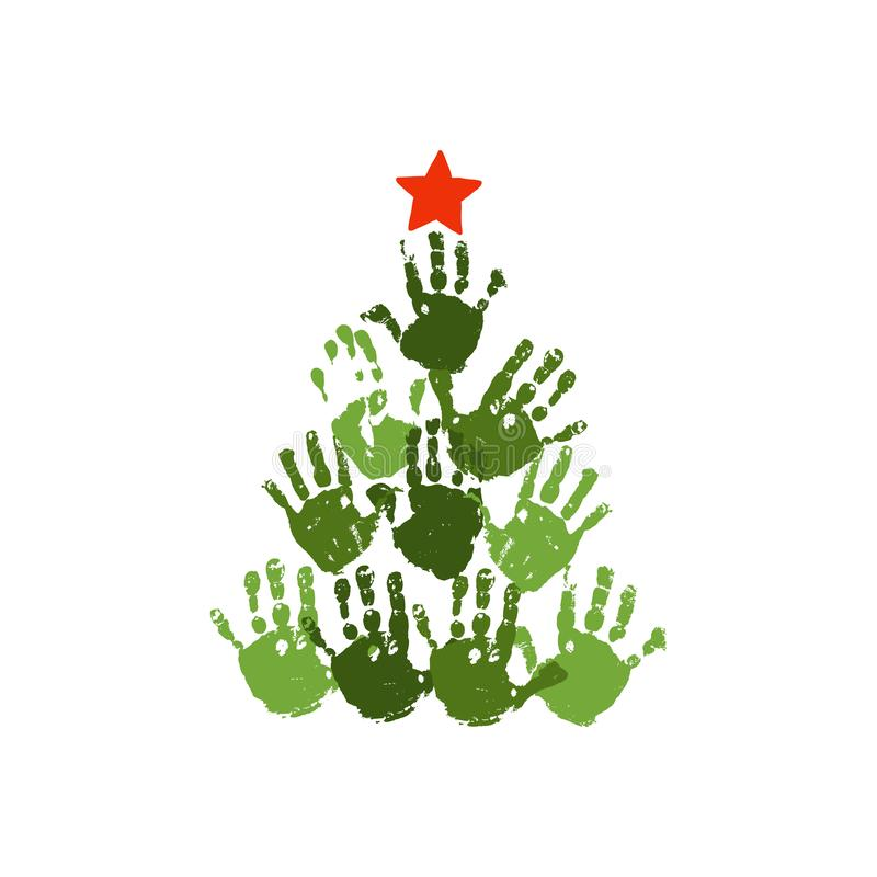 Árbol de navidad de Handprint con la estrella handdrawn roja Arte de acrílico de la Navidad de los niños de la acuarela Artes de  libre illustration