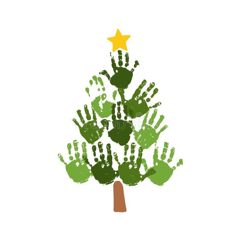 Árbol de navidad de handprints con la estrella amarilla Arte de acrílico de la Navidad de los niños de la acuarela Artes de la Na stock de ilustración