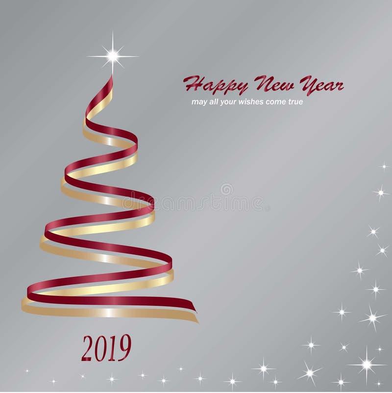 Árbol de navidad hecho de cintas rojas y de oro stock de ilustración