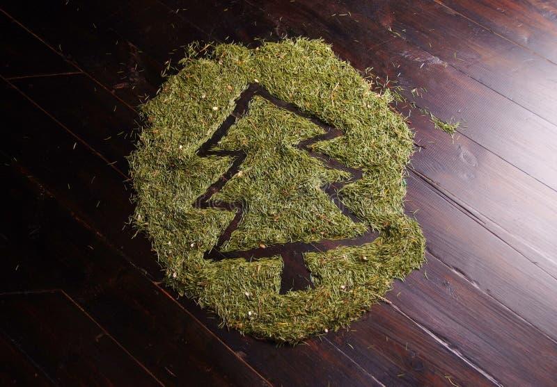 Árbol de navidad hecho de agujas del abeto fotos de archivo libres de regalías